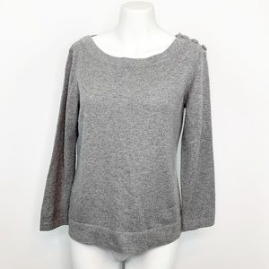 Neiman Marcus Cashmere Grey Button Detail Sweater